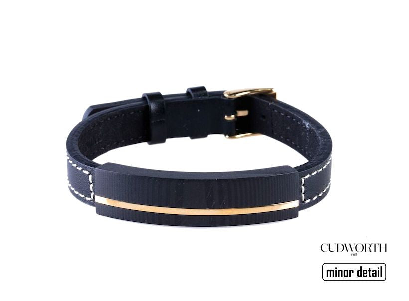 Cudworth Gold and Carbon Fibre Adjustable Leather strap bracelet