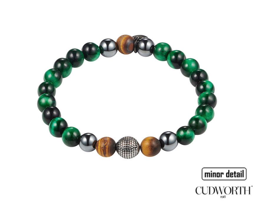 Mens green beaded bracelet by Cudworth Mens Jewellery Australia