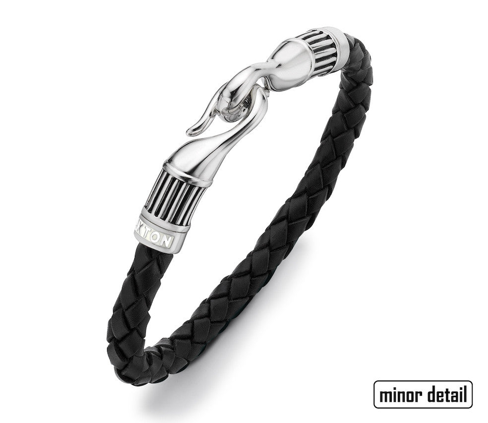 Hoxton Bold Sterling Silver & Leather Hook Bracelet
