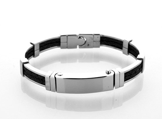 Mens Steel and Black Leather Bracelet by Cudworth Jewellery Australia