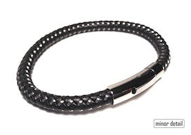 Black Leather and Cable Weave Bracelet by Cudworth Sydney