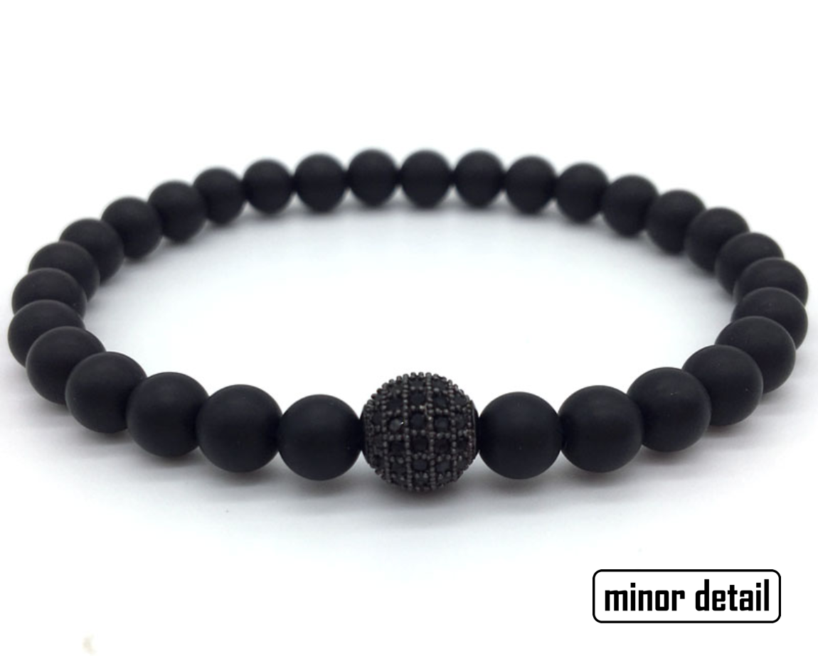 Small Black Matte Agate CZ Beaded Bracelet