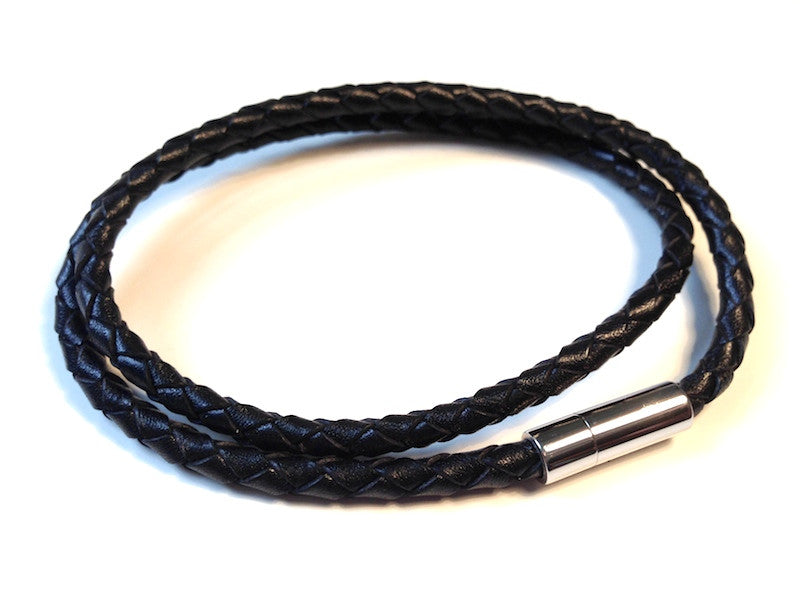 Black Leather Bracelet Double Wrap by Cudworth Sydney