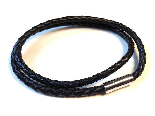 Black Weave Double Looped Leather Bracelet By Cudworth