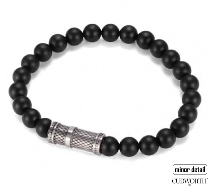 Mens black agate beaded bracelet with lattice steel pendant