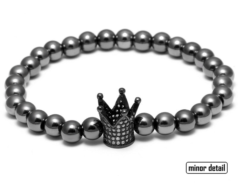 Man Bracelet Steel Beads with Crown Charm Pendant