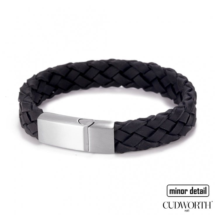 Mens Italian Woven Leather Bracelet in Black leather with Steel Clasp - by Cudworth Jewellery Australia