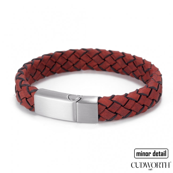 Mens Italian Woven Leather Bracelet in Red with Steel Clasp - by Cudworth Jewellery Australia