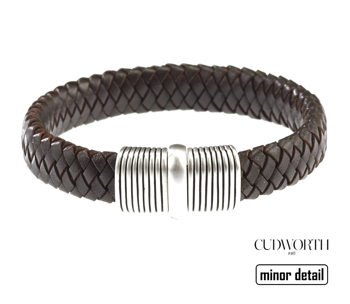 Cudworth Mens Broad Brown Leather Bracelet with Sterling Silver Clasp