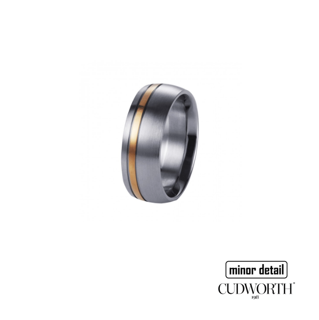 Men's Brushed Stainless Steel Ring With Polished Ion Plated Rose Gold Band by Cudworth