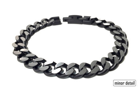 Mens Steel Chain Bracelet in Black & Machined Steel