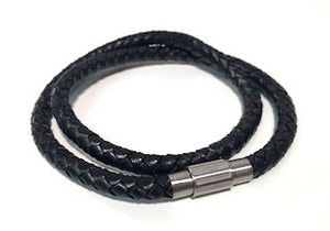 Black Leather Bracelet Double Wrap mens bracelet by Cudworth Australia