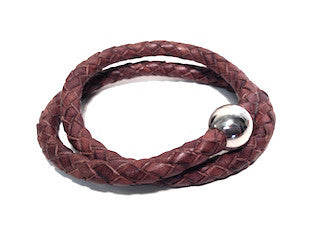Sphere Clasp Twin Brown Leather Bracelet