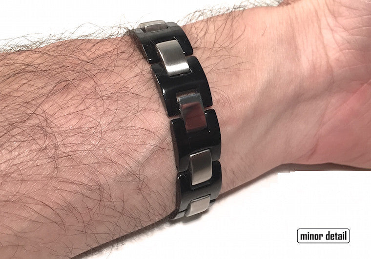Mens Steel Bracelet in Black and Polished Stainless Steel