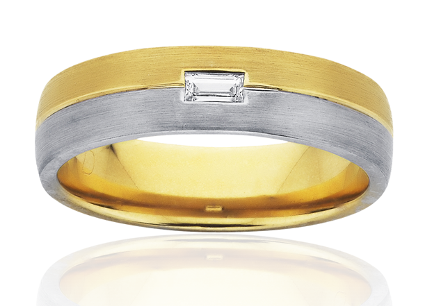 Mens Diamond Gold Wedding Ring