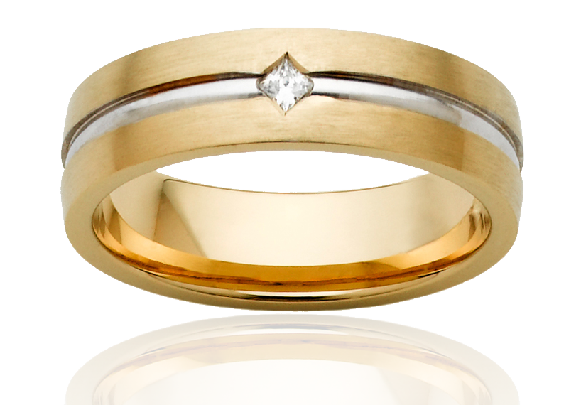 Mens Gold Wedding Ring with Diamond