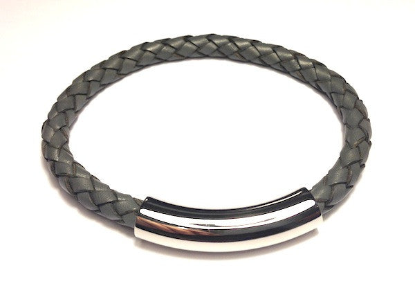 Grey Leather Bracelet with Polished Clasp