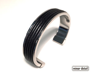 Mens Ribbed Leather Cuff Bracelet