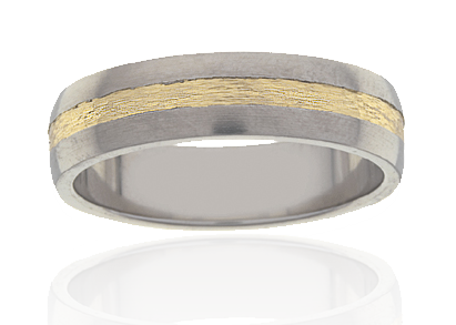 Mens Titanium Ring with Milled Gold