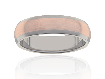Gents Rose Gold and Titanium Ring