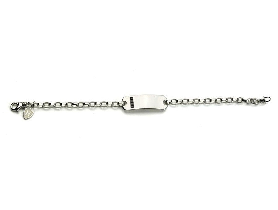Mens Sterling Silver Bracelet with ID Plate