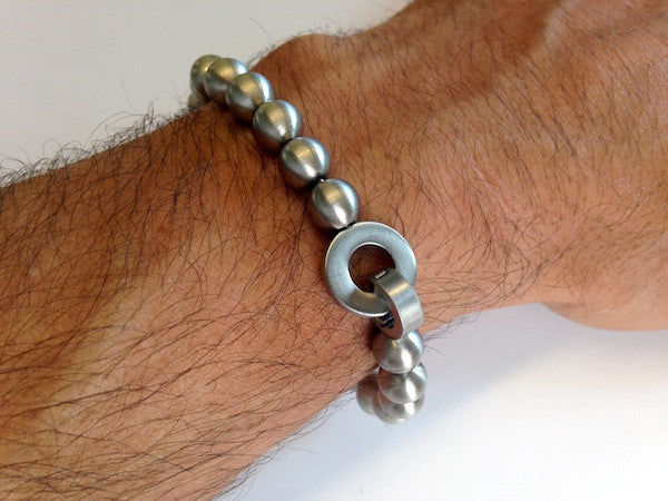 Cudworth Brushed Steel 24 Ball Beaded Bracelet