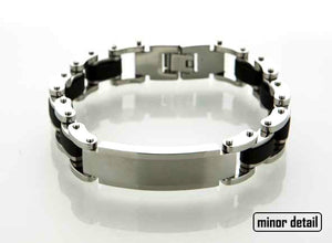 Steel Chain & Rubber ID Bracelet