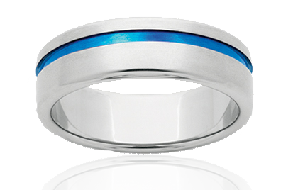 Mens Titanium Blue Strike Single Ring