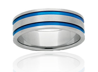 Titanium Blue Strike Double Ring
