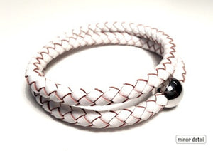 White Woven Leather Bracelet