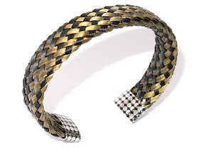 Mens Woven Steel Cuff bracelet in Gold by Cudworth