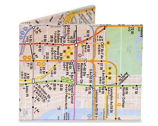 Subway Map Paper Products.Nyc Subway Map Mighty Wallet