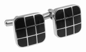 Black Enamel 'Grid' Cufflinks by Cudworth