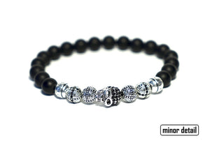 Mens Skull bracelet with black and silver beads