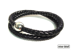 Sphere Clasp Twin Black Leather Bracelet