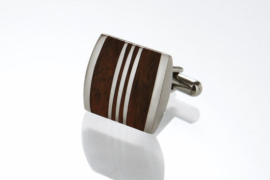 Wooden Stainless Steel Cufflinks by Cudworth