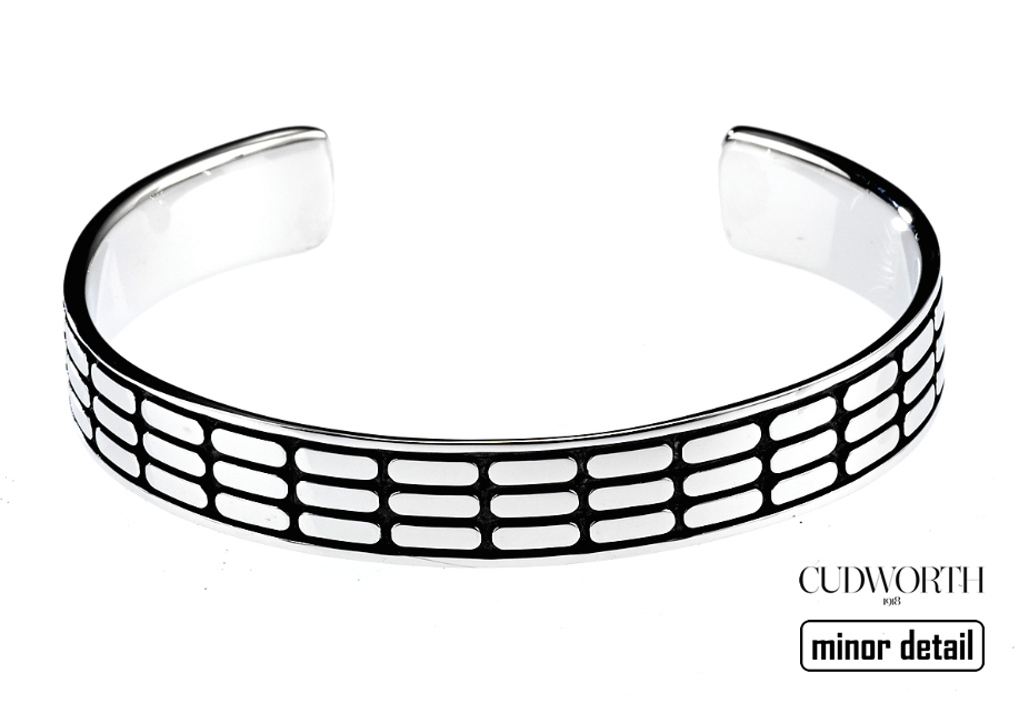 Cudworth Mens Silver Cuff Bangle with gift box.