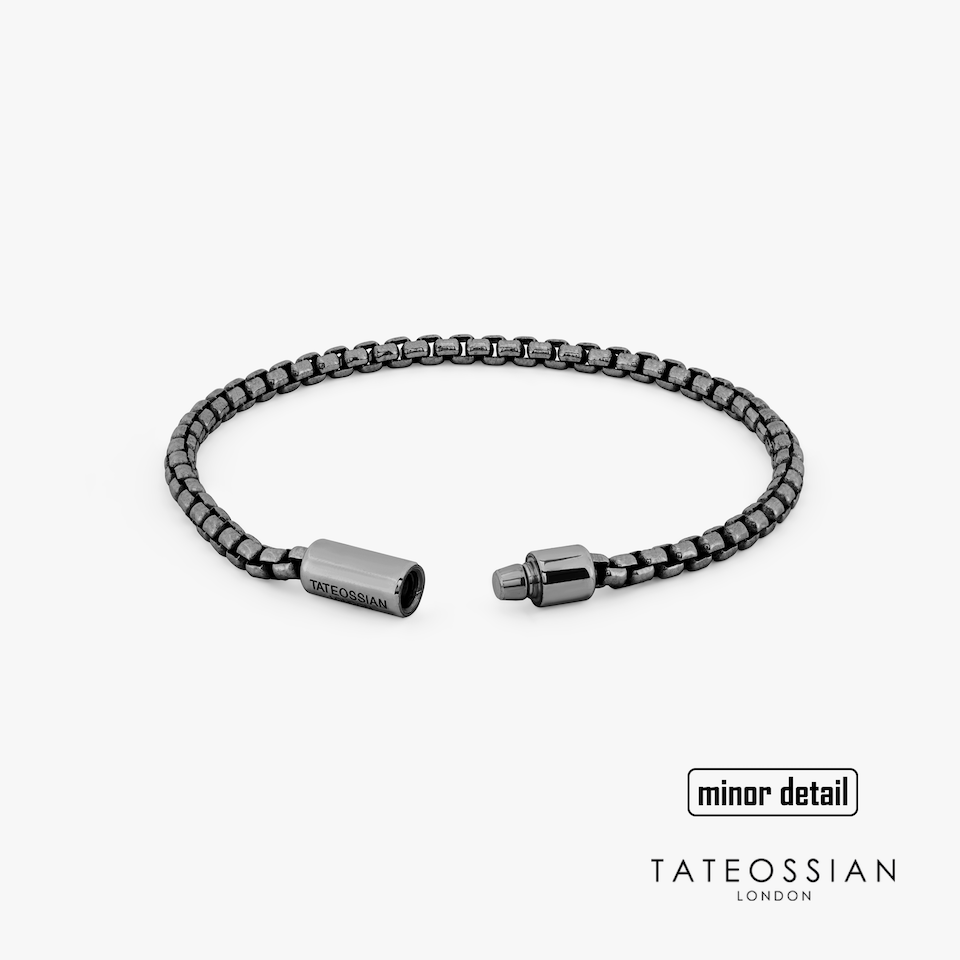 Tateossian Pop Sleek Silver Bracelet Black