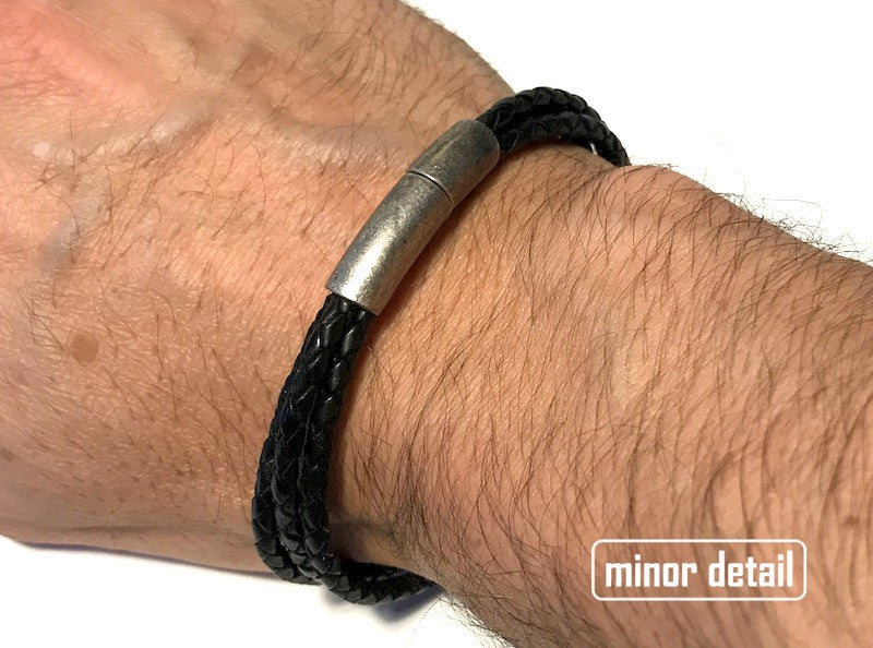 Layered Leather Mens Bracelet in Black Leather strands