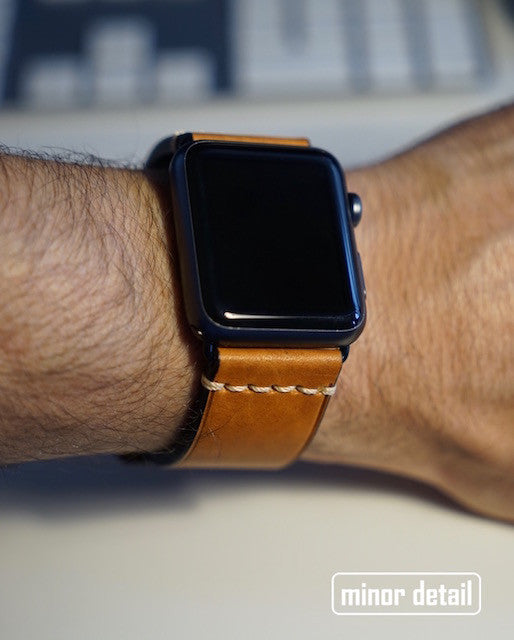 Apple Watch Band 42mm Brown Leather Black Steel Clasp