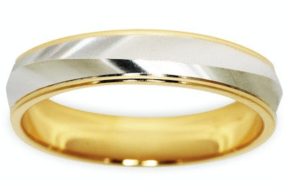 Mens Gold Two Tone Wedding Ring by Worth & Douglas