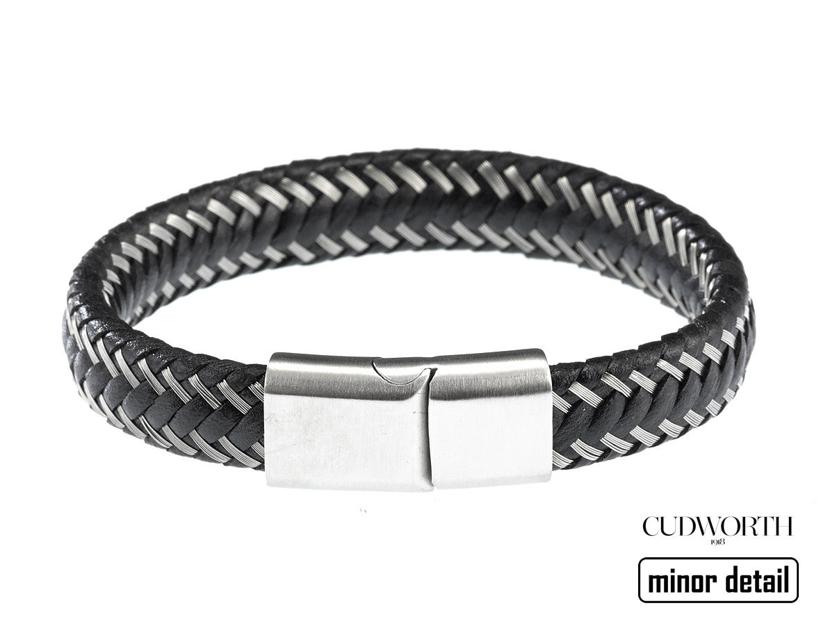 Woven Dual Steel & Leather Bracelet