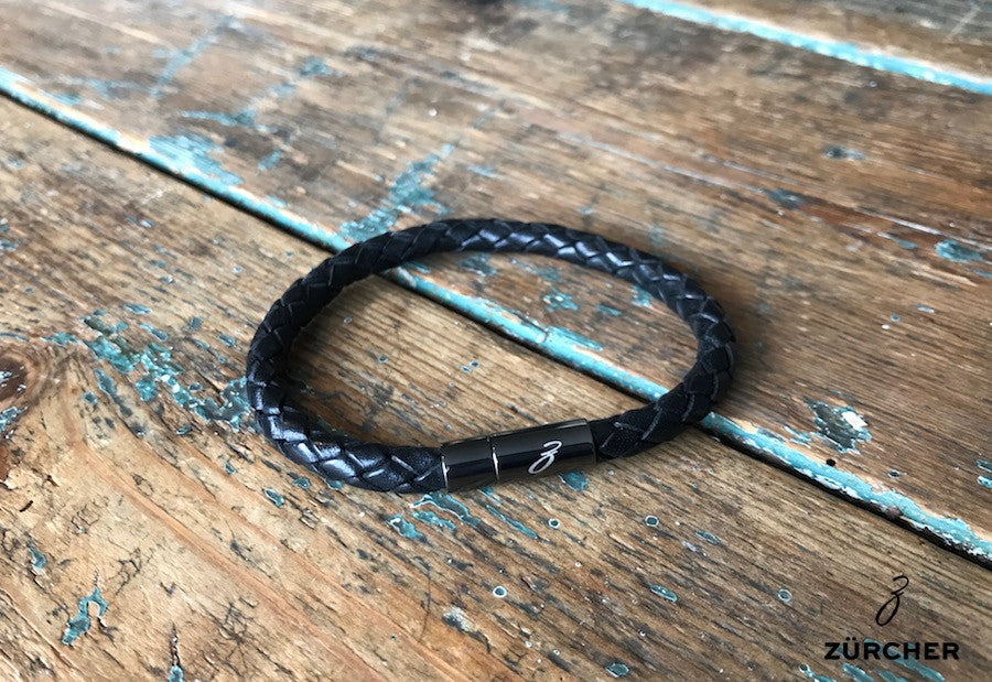 Black Woven Leather Bracelet by ZÜRCHER