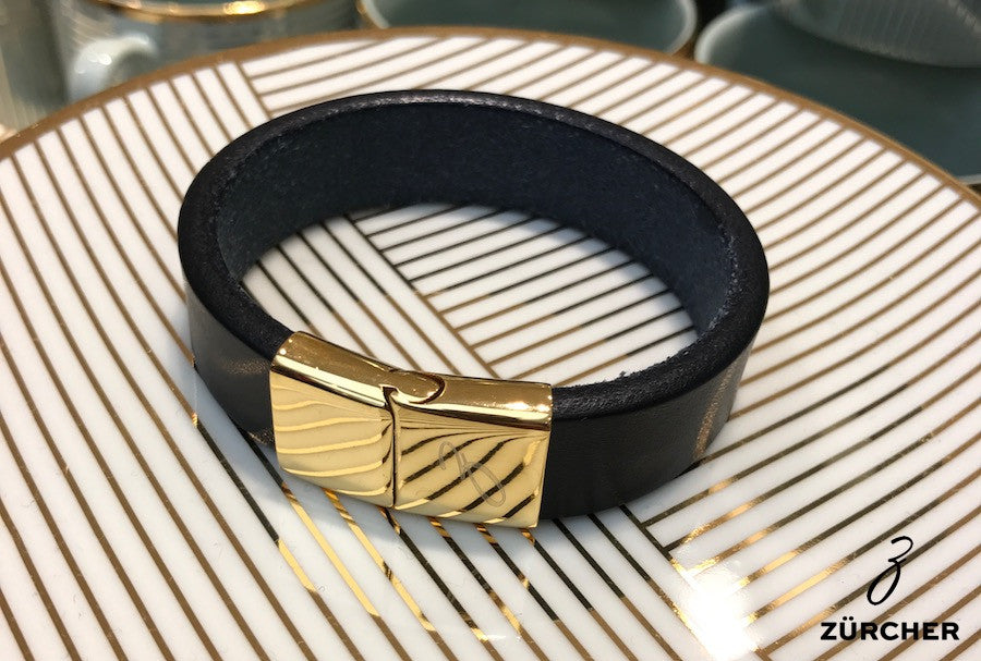 Black Leather Bracelet with Gold Clasp by ZÜRCHER