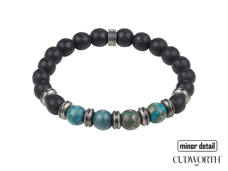 Aqua green beaded bracelet by Cudworth Mens Jewellery