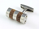 Stainless Steel with Wood Inlay Cufflinks