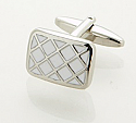 White Enamel 'Criss-Cross' Cufflinks by Cudworth