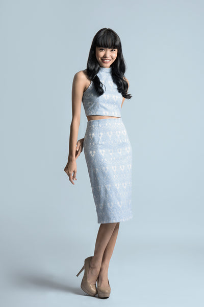 Kate Midi Skirt in Serenity Blue