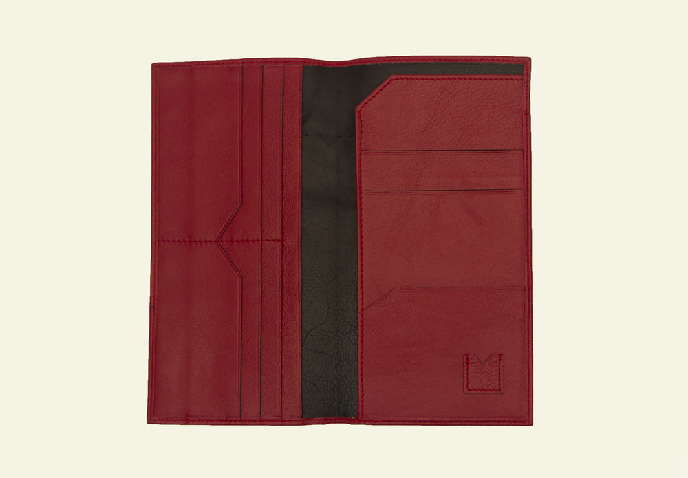 Landon slim travel wallet, Crimson leather wallet online