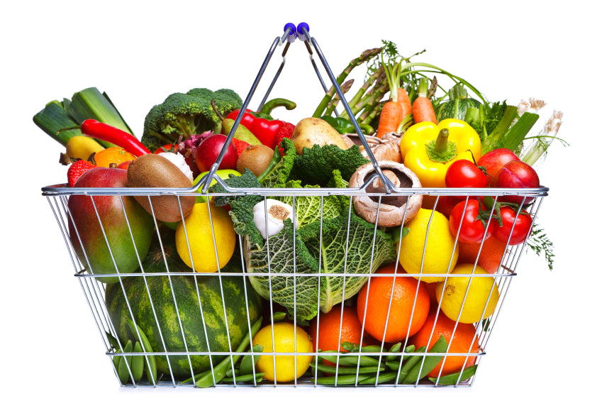 Grocery basket full of healthy food
